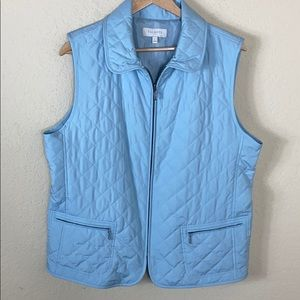 Euc Talbots lightweight quilted zip front vest L